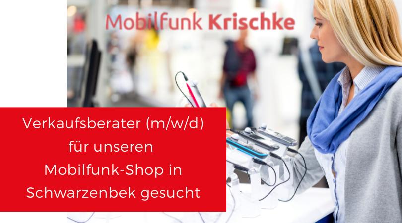 Jobangebot Stellenanzeige Verkäufer Verkäuferin Mobilfunk Krische Schwarzenbek